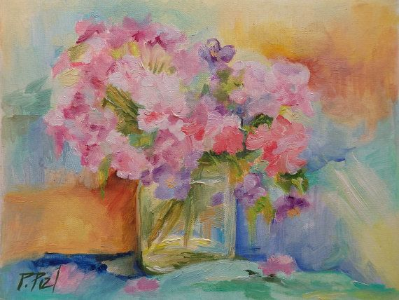 Pink FLOWERS Classic Still life Small oil by CanisArtStudio