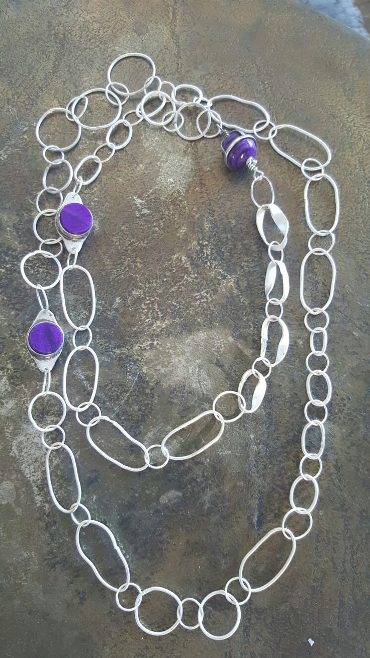 Handmade silver and wesselite (sugilite) necklace by Met passion design