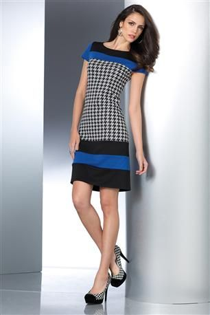 Colorblock-Houndstooth-Dress