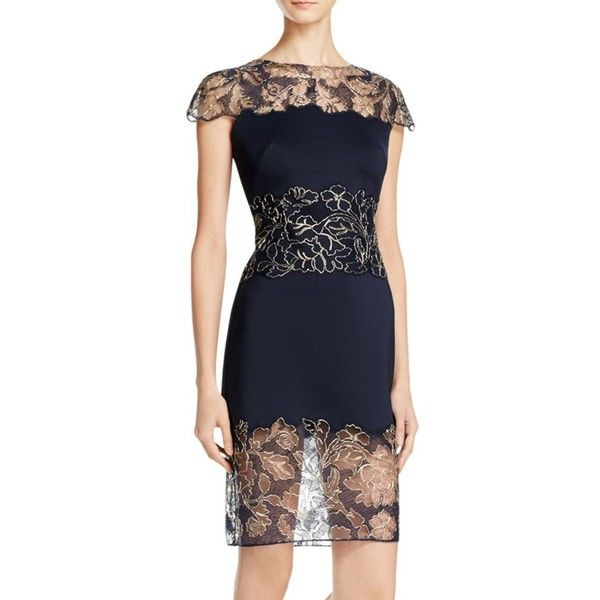 Tadashi Petites Metallic Lace Trim Dress (575 CAD) ❤ liked on Polyvore featuring dresses, cocktail dresses, petite evening dresses, navy blue lace dress, lace dress and sheath cocktail dress
