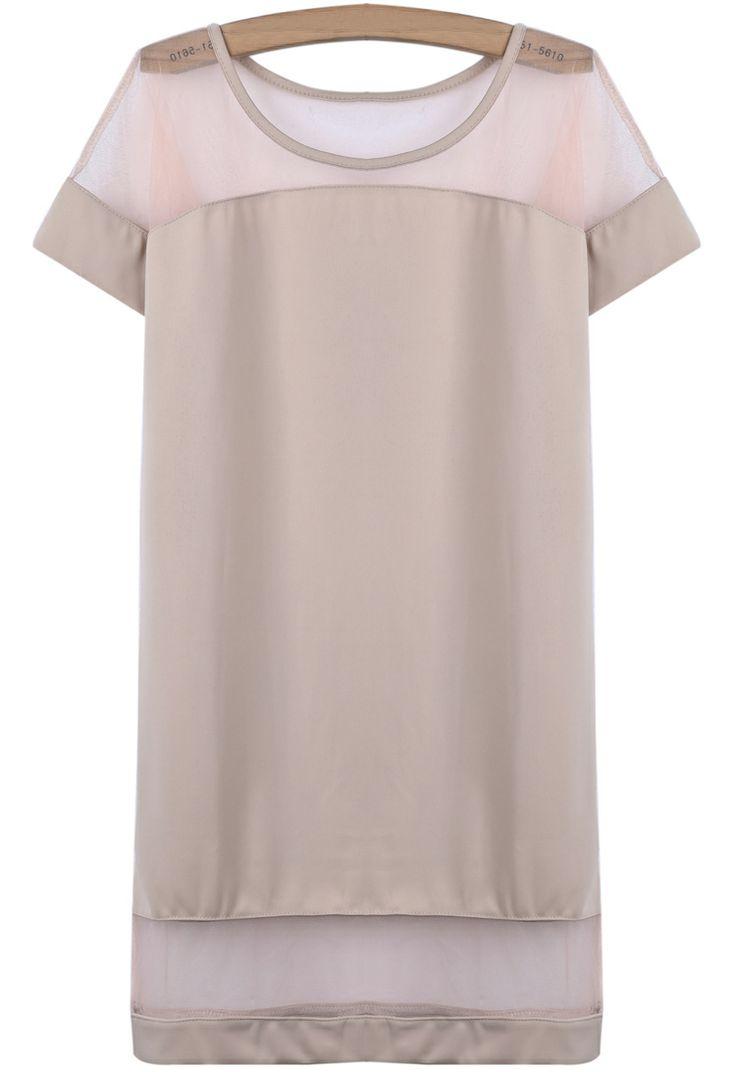 Apricot Contrast Sheer Mesh Yoke Loose Dress - Sheinside.com