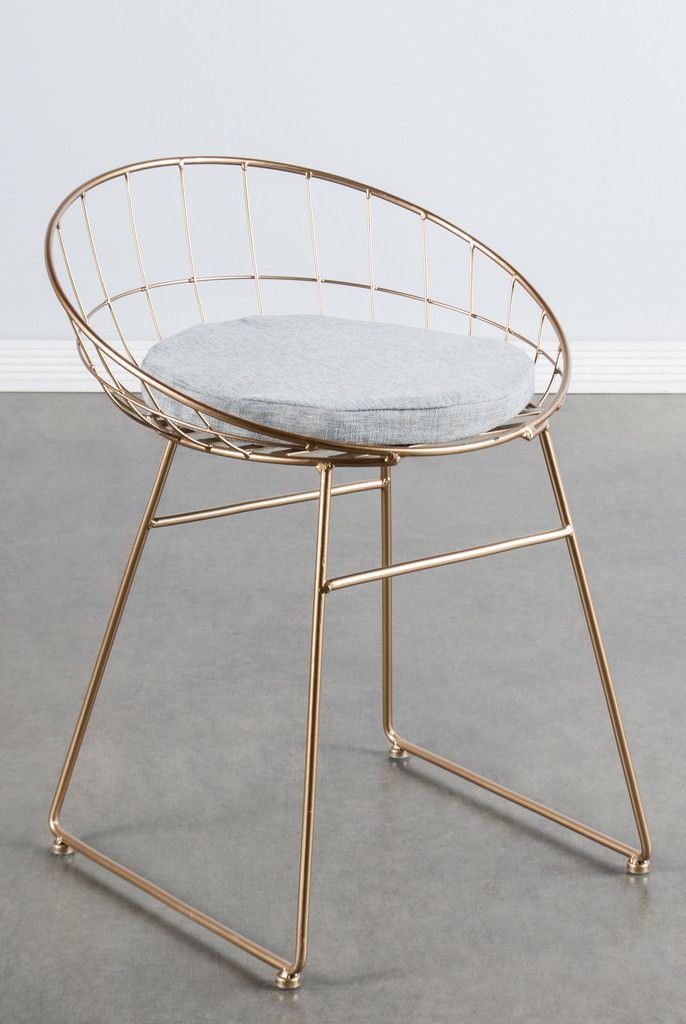 """Materials: Metal, linen (pad) Measurements : 25.5""""h x19.5""""w x18""""d pounds, 8 pounds Seat height: 19"""" Colors: gold, gray (pad) We offer the same chair with white sheepksin option too."""