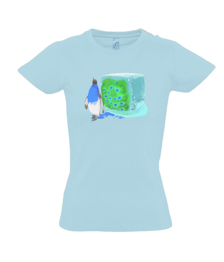 Ladies T-Shirt - The Penguin Who Wanted to be a Peacock - 100% ringspun cotton. Taped back neck and ribbed collar. Tubular body. Twin needle stitching.