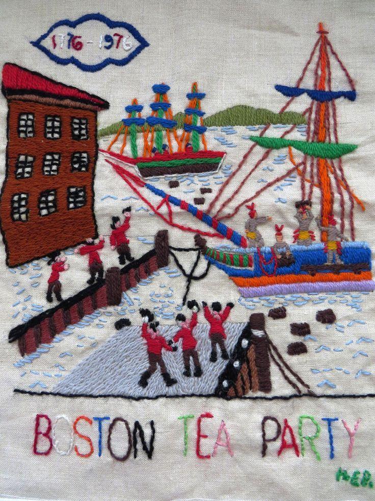 COMPLETED Boston Tea Party Crewel Stitchery Picture Wall Panel Bucilla 1967  #Bucilla