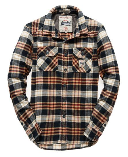Superdry men's Milled Flannel shirt. This soft brushed flannel twill shirt features twin chest pockets, quilted shoulder panel and finished with a Superdry logo patch on the chest pocket.