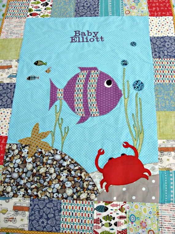 Under The Sea Baby Quilt By Pippabluebaby On Etsy 110 00