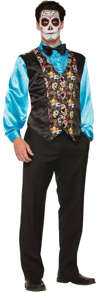 A great vest to complete any men's Day of the Dead costume! Black vest with colorful sugar skull print on the middle front panels. One size fits most.