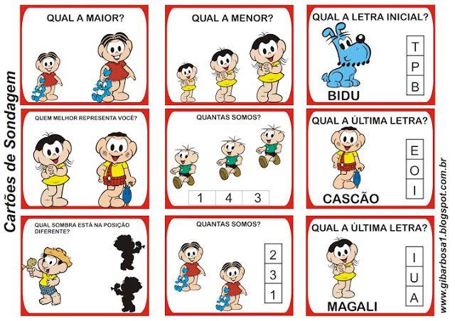 Cartões para Sondagem Dora Aventureira e Turma da Mônica