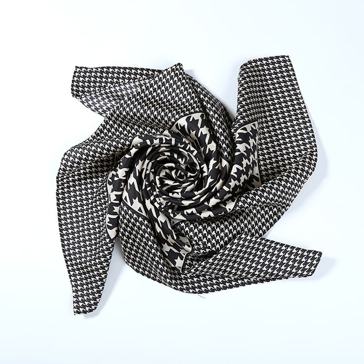 Large Square Silk Twill Scarf Black and White Swallow Gird Print XWC687