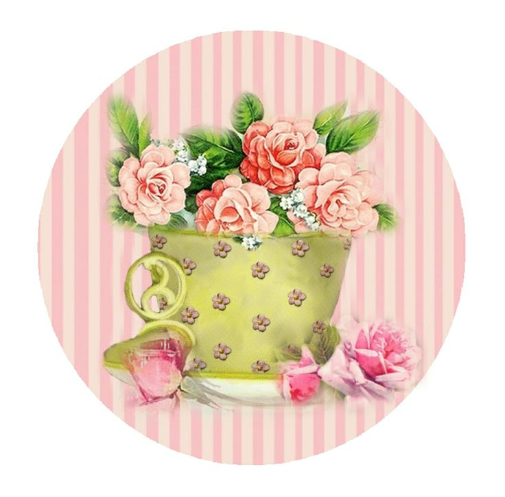 A Whimsy Dust Affair - tea cup full of roses on pink striped background - printable
