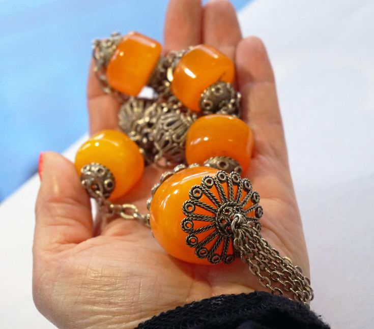ANTIQUE GENUINE AMBER Beaded Necklace Old Estate Collectible Huge Orange Amber Beads Filigree Long Chain Necklace Unique Holiday Gift Idea by ANTIQUE4YOU on Etsy https://www.etsy.com/ca/listing/574255835/antique-genuine-amber-beaded-necklace