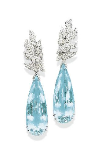 Aquamarine and diamond ear-pendants - Margherita BURGENER (hva)