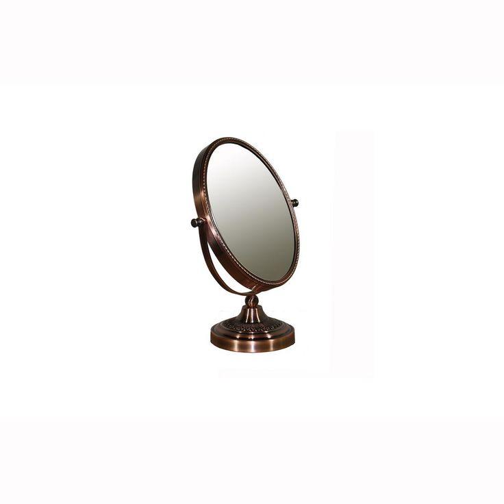 ORE International 12.25 in. Copper Chrome Oval 5x Magnify Mirror