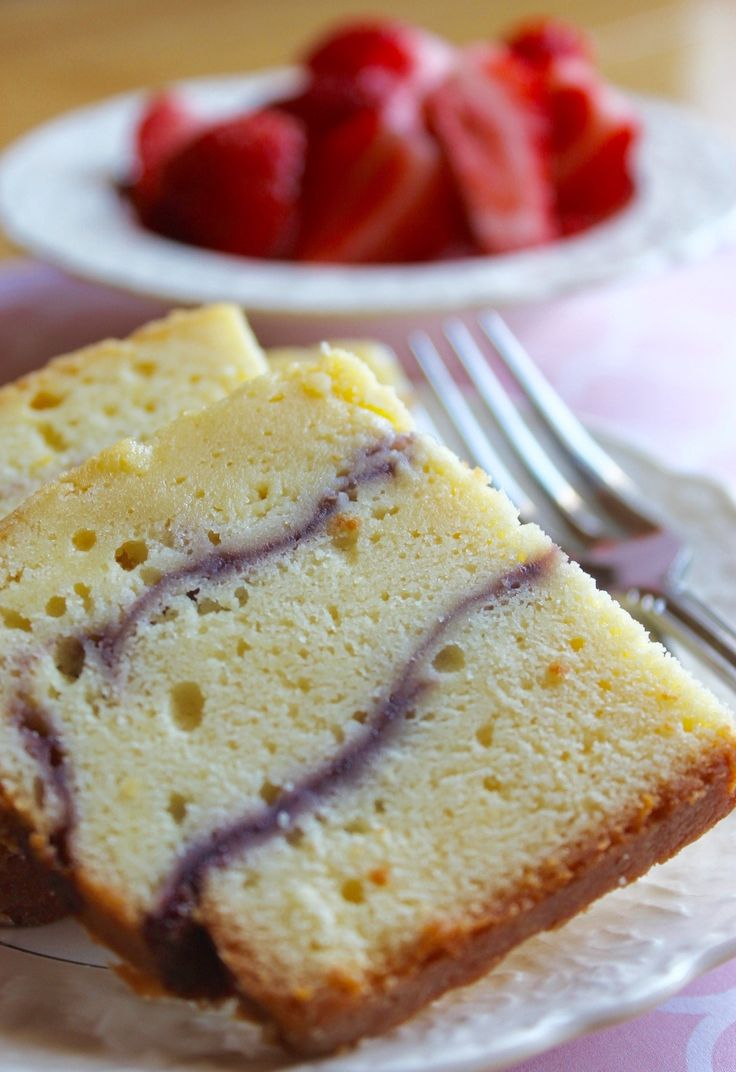 This pound cake is so yummy! It has a light, not-too-sweet strawberry sauce gently swirled throughout the creamy, smooth cake layers and a slice of it is the perfect mid-afternoon snack. Not too mu…