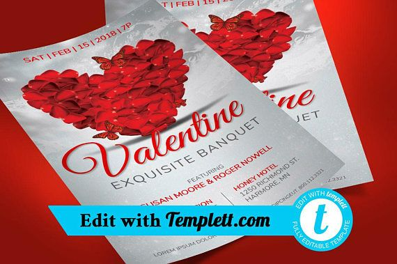 petals valentines banquet flyer templett time to party pinterest