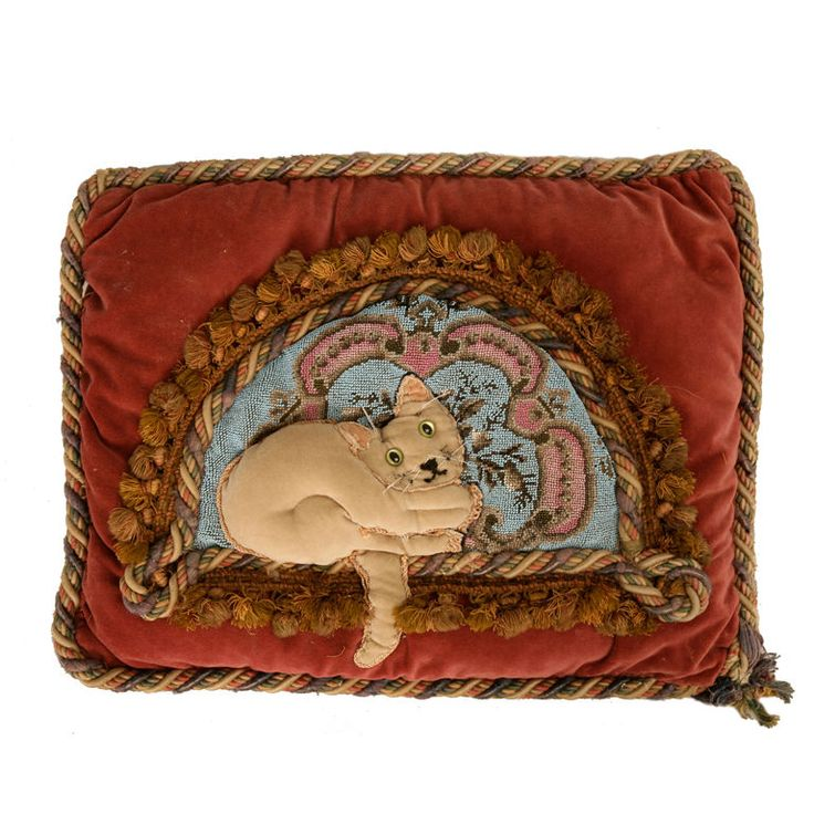 Modern Pillows And Throws : Circa 1880 Antique English Folk Art Hand-Beaded Kitty-Cat Pillow Folk art, Kitty and Pillows