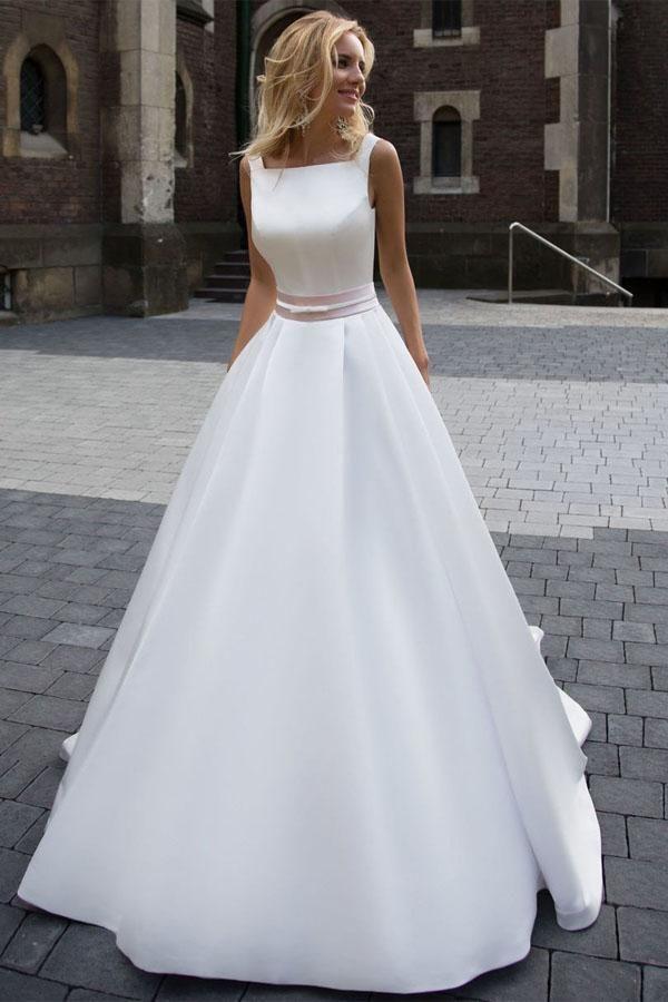 Princess Simple A-line Satin Ivory Wedding Dresses M2076