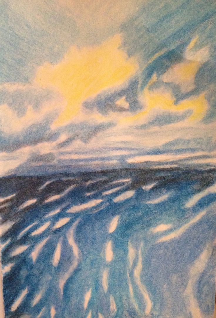 Sun and the sea pencil drawing