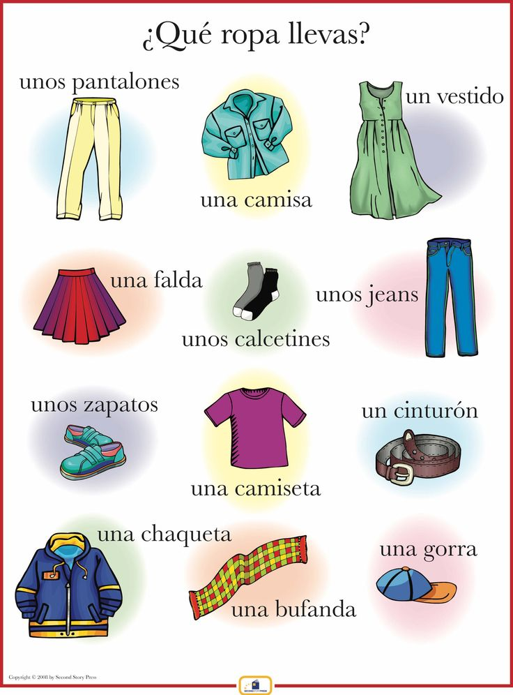Introduce clothing words with this colorful 18 x 24 in. poster that includes a free guide with teaching suggestions and practice worksheets. ✿ Spanish Learning/ Teaching Spanish / Spanish Language / Spanish vocabulary / Spoken Spanish / More fun Spanish Resources at http://espanolautomatico.com ✿ Share it with people who are serious about learning Spanish!