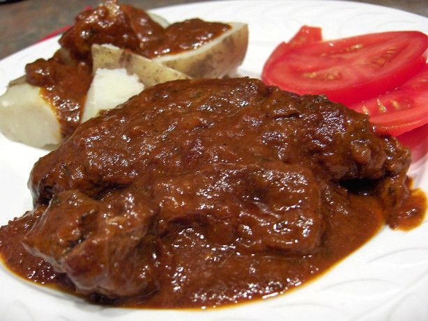 A great recipe for a chuck underblade steak that is usually inexpensive,  but too often turns out tough.  This one melts in your mouth and my family asks for it often.  Good over mashed or small boiled potatoes, or rice.