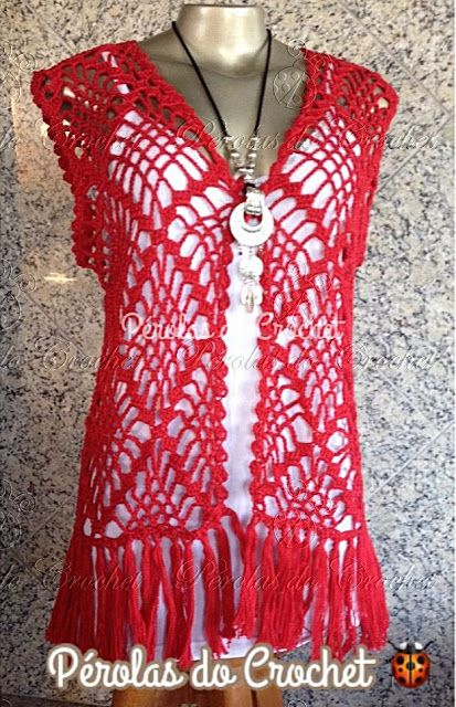 * Pérolas do Crochet: Colete Kimono em croche com gráfico