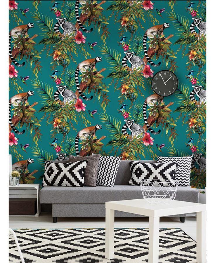 Lemur - Teal/Multi 12402 wallpaper