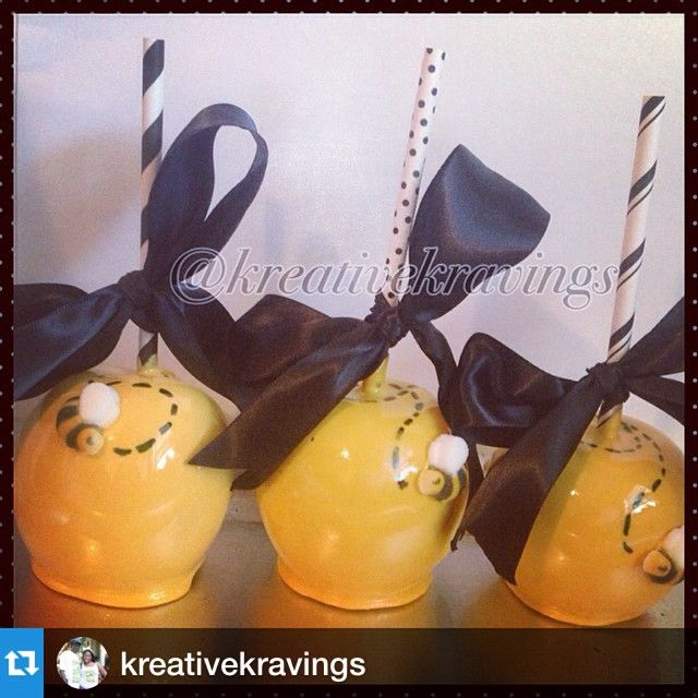 I Love These Bumble Bee Candy Apples By Did You Know Could Use Your Paper Straws From To Display