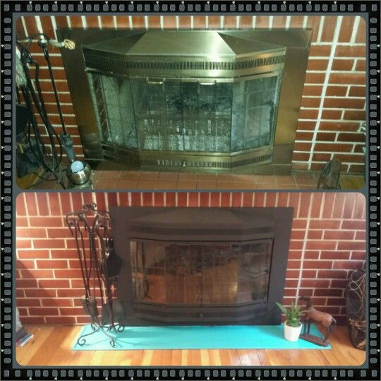 Fireplace Before & After Paint Brass Doors With High Heat