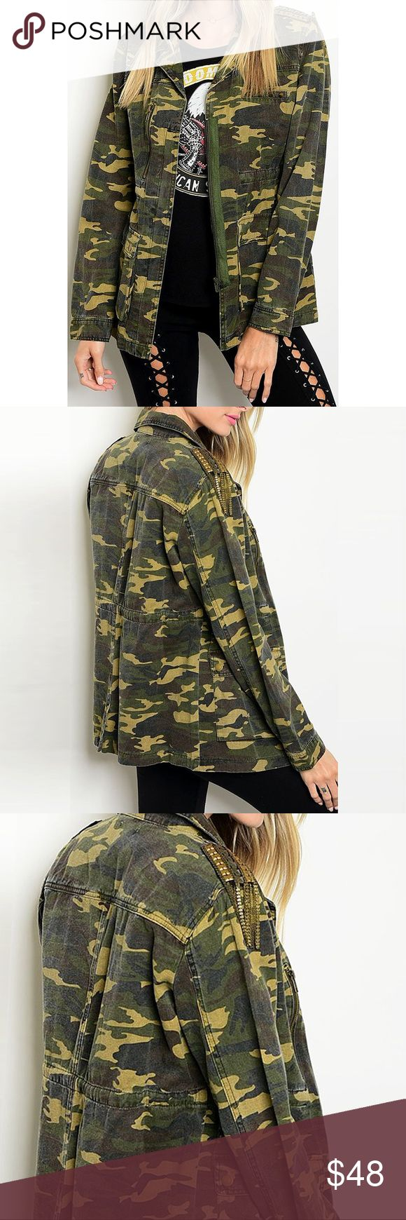"Shoulder Studded, Gracie Military Utility Jacket ❤️ BUNDLES ❤️ DISCOUNTS ❌ NO TRADES ❌ NO Low balling!  • Studs on shoulder and chest pocket • 100% Cotton   * MEASUREMENTS • SMALL: - Length: 25.25"" Approx - Bust: 36.5"" Approx • • MEDIUM: - Length: 26"" Approx - Bust: 39.15"" Approx • • LARGE: - Length: 26.5"" Approx - Bust: 40.7"" Approx • Jackets & Coats Utility Jackets"