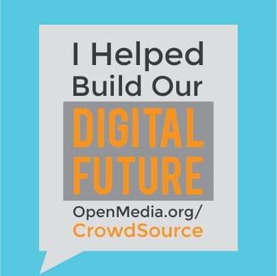 Thousands of you have participated in our crowdsourcing project for sharing and collaborating in the 21st century - and we want to say a huge Thank You from all of us here at OpenMedia. If you've still to take part - don't miss out: go to https://OpenMedia.org/Crowdsource today, and let all your friends know you've helped shape our Digital Future by sharing this graphic.