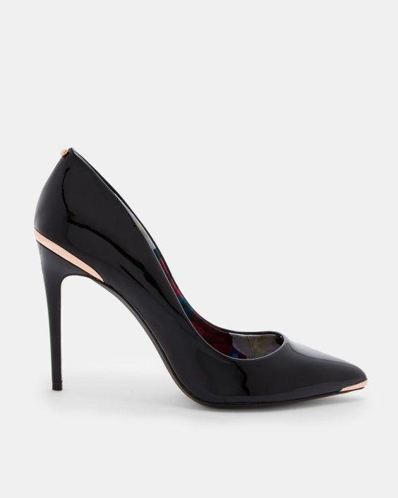 Metal detail leather court shoes - Black | Shoes | Ted Baker AU