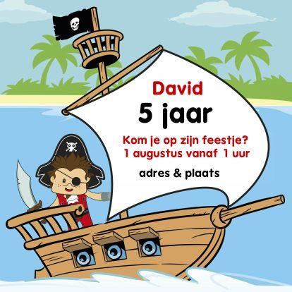 Uitnodigingen - Uitnodiging Verjaardag feestje piraat G