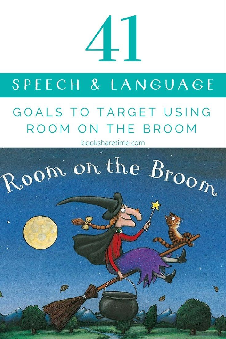 Check out the range of speech and language goals that can be targeted in speech therapy using Julia Donaldson and Axel Scheffler's classic picture book Room on the Broom. #childrensbooks #picturebooks #speechtherapy #juliadonaldson