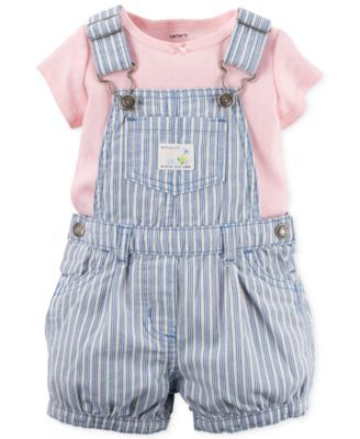 Carter's Baby Girls' 2-Piece Stripe Shortall & Pink T-Shirt Set