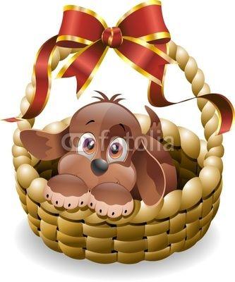Puppy Dog in Basket © Bluedarkat! Lovely!!!!!!!