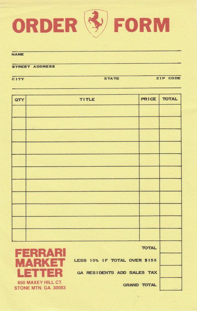 FERRARI MARKET LETTER MAGAZINE ORDER FORM SHEET LETTER USA RARE - paper order form