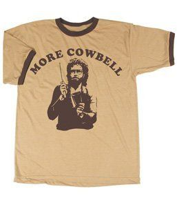 SNL Saturday Night Live More Cowbell Vintage Tan with Brown Ringers T-Shirt   My FAV!