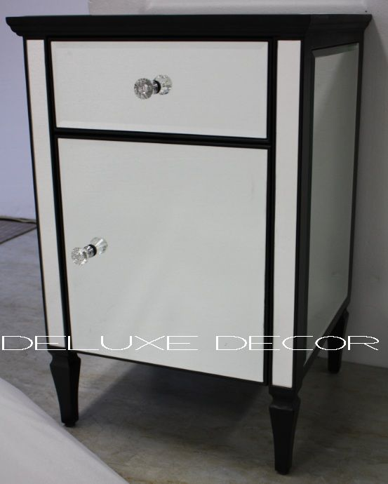 Clair Black Edge Silver Mirrored Mirror Cabinet Bedside Side Table 2300B http://deluxedecor.com.au/products-page/clair-collection/clair-black-edge-silver-mirrored-mirror-cabinet-bedside-side-table-2300b-h750-mm/
