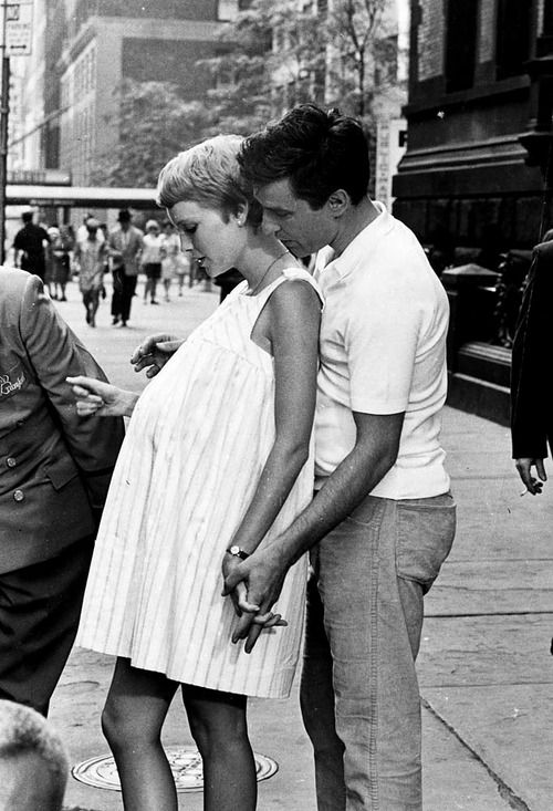 the60sbazaar:  Mia Farrow and John Cassavettes on the set of Rosemary's Baby