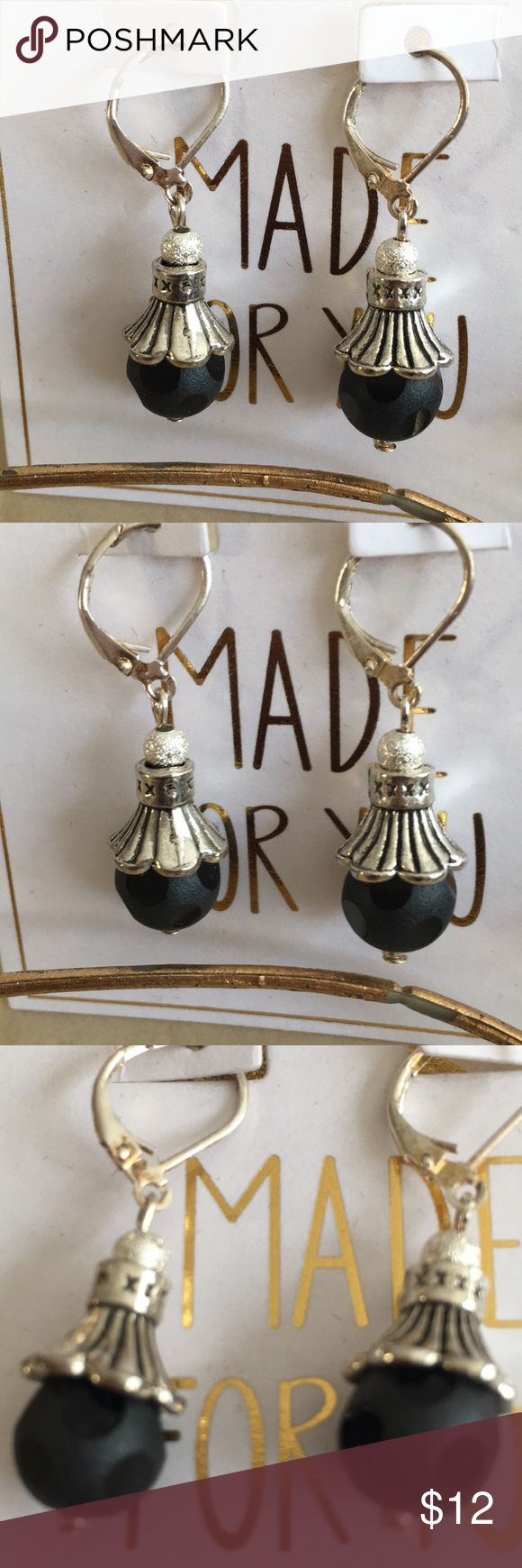 Vintage Black Polka Dot Sterling Pl Bali Earring Lever-back Bali sterling plated bead cap earring. Vintage polka dot glass bead. One of a kind hand designed by Lori🙃 My Beading Heart 2 ❤️ Jewelry Earrings