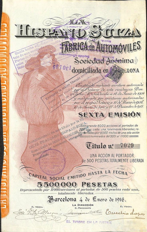 LA HISPANO SUIZA - FABRICA DE AUTOMOVILES - #scripomarket #scriposigns #scripofilia #scripophily #finanza #finance #collezionismo #collectibles #arte #art #scripoart #scripoarte #borsa #stock #azioni #bonds #obbligazioni