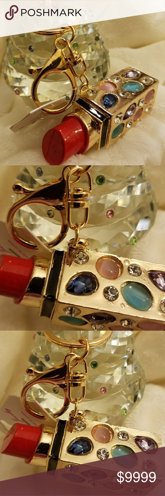 "Jeweled 💄Lipstick Keychain Key Clip Faux jewels inlaid in Gold colored hardware ""tube"" of bright 💔Pink 💄Lipstick. This is a keychain/key clip combo. For the gal who loves ALL makeup!            👉NWT.👈  1 in inventory!  Check out ALL the cute keychains in my closet! Accessories Key & Card Holders"