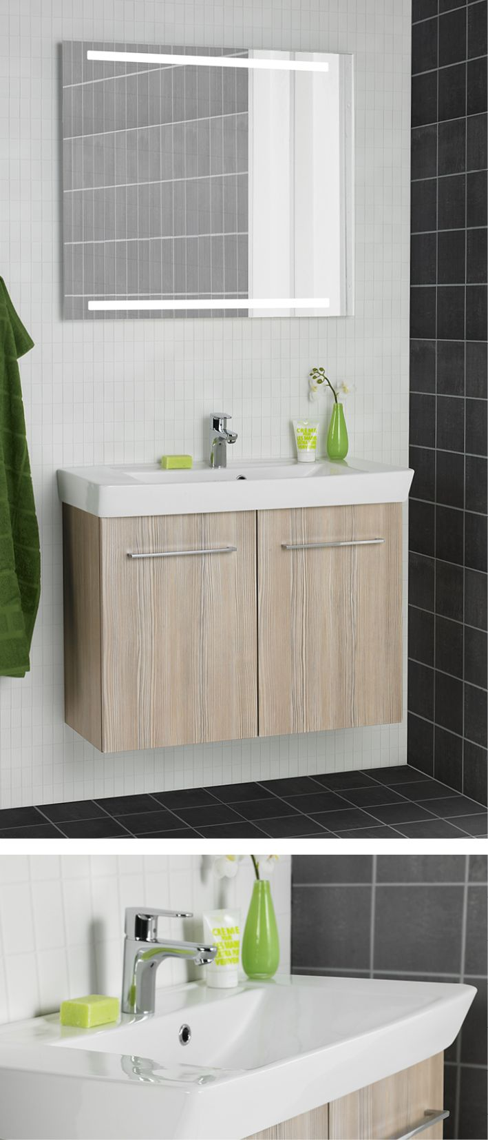 Large washbasin and ample shelf space for toiletries or accessories, combined in a fabulous design.