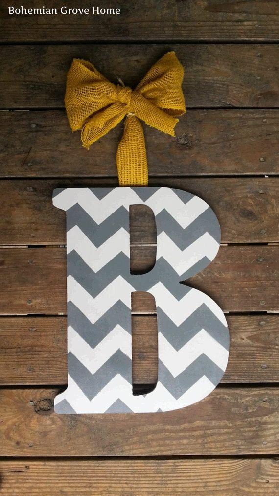 Gray and White Chevron Monogram with Yellow Burlap Bow, Monogram Wreath, Front Door Monogram, Chevron Decor on Etsy, $40.00