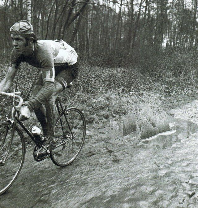 Roger De Vlaeminck in Paris - Roubaix One of the best cycling pictures ever.  This man was a beast.