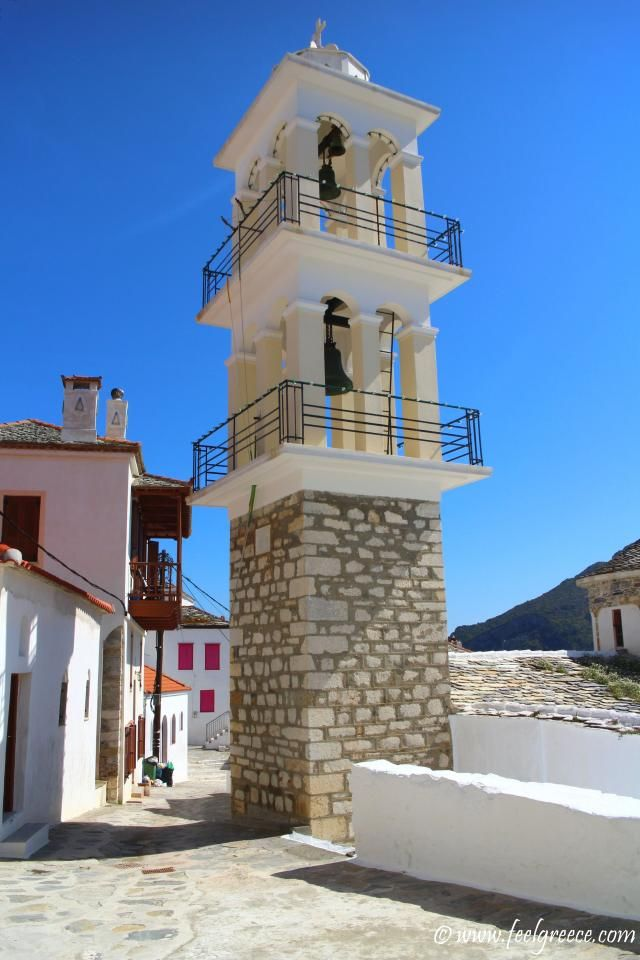 Church belfry; photo from Skopelos Town, Skopelos