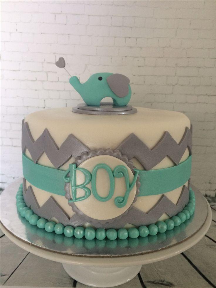 Turquoise baby shower cake