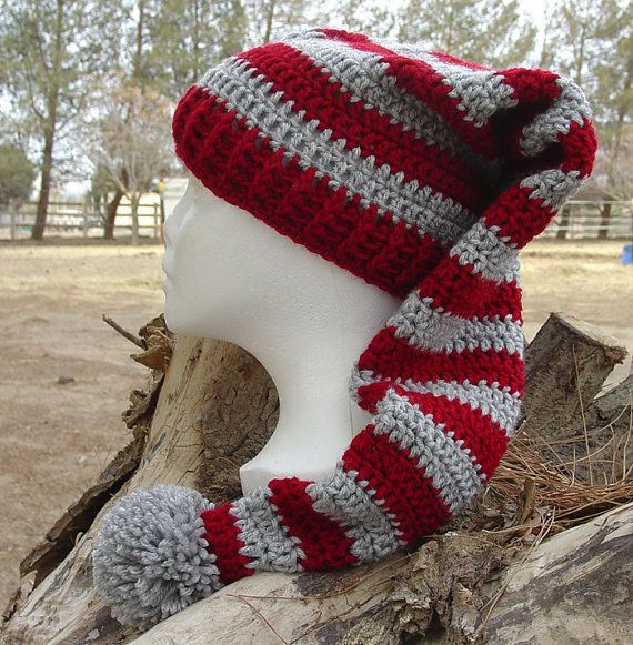 Crochet Pattern Stocking Hat : Handmade Crochet SRA Long Stocking Beanie Cap Hat Red Gray ...