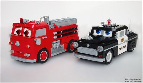 LEGO Pixar - Vehicles from the Cars movie - Red fire engine & black police car.