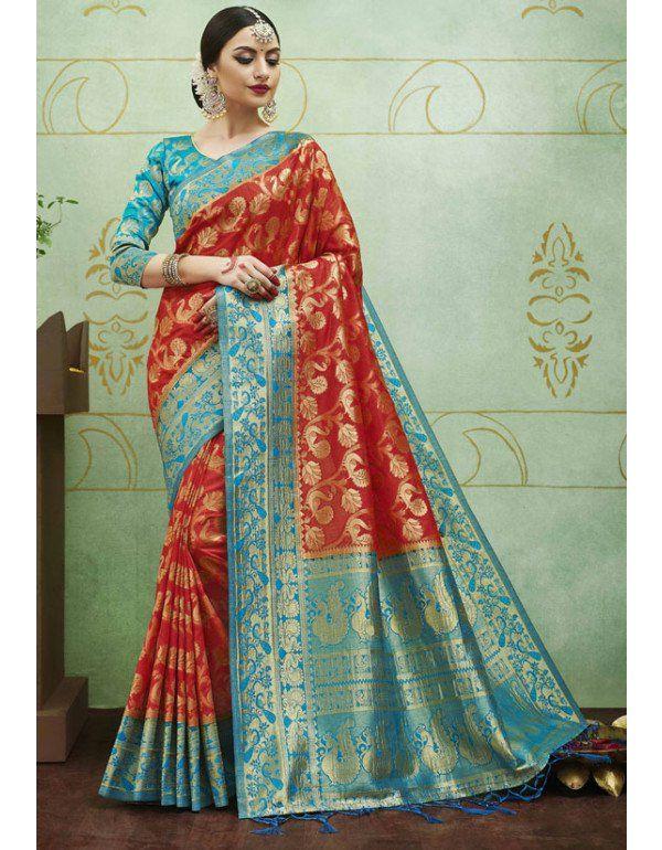 572da4fc3d Rust Red and Teal Blue Banarasi Silk Jacquard Saree   Silk Sarees ...